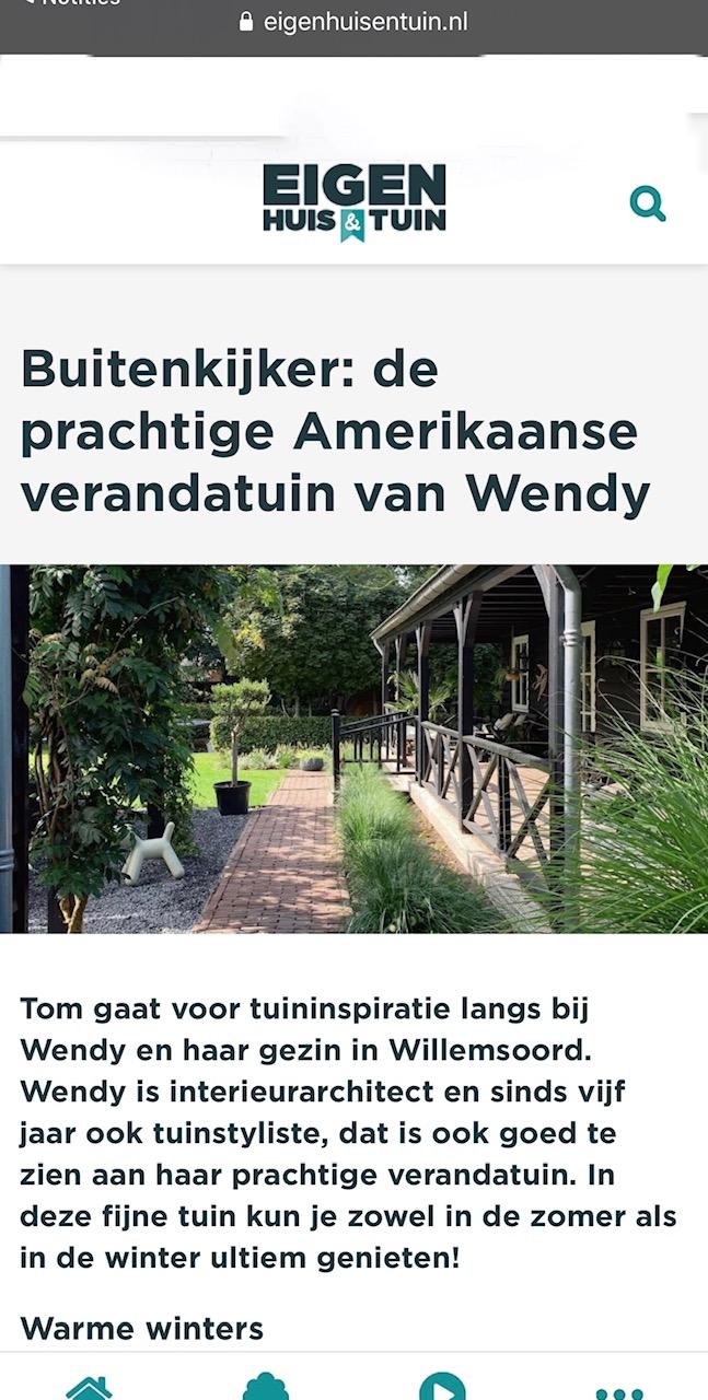 Trots: Op tv én op de site van eigen huis & tuin met onze tuin!