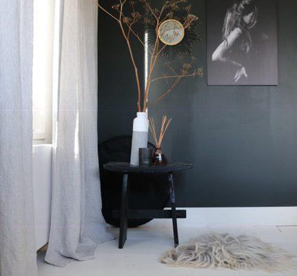 Linnen gordijnen slaapkamer.  besteld op www.echtgordijn.nl
